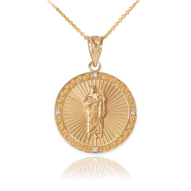 Yellow Gold St Jude Diamond Disc Pendant Necklace