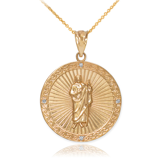 Yellow Gold St Jude Diamond Medal Pendant Necklace