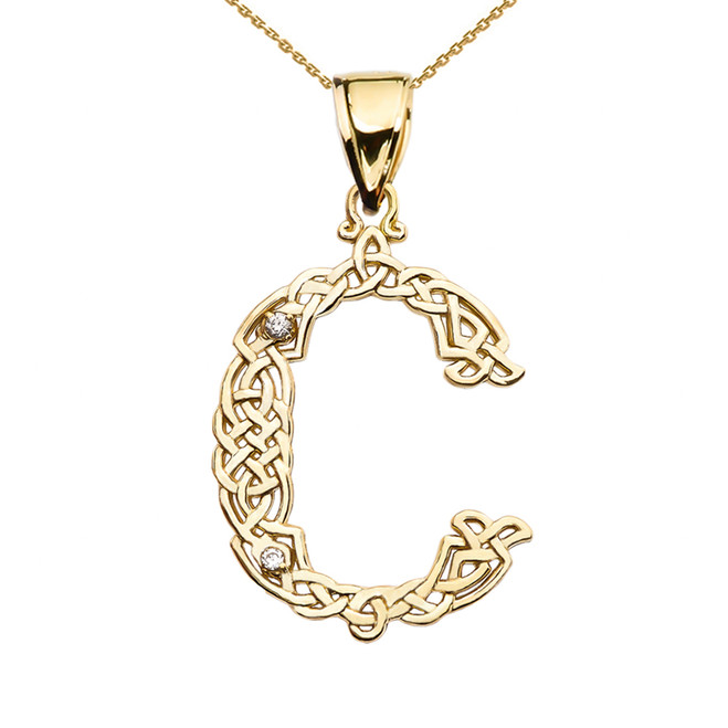 """C"" Initial In Celtic Knot Pattern Yellow Gold Pendant Necklace With Diamond"