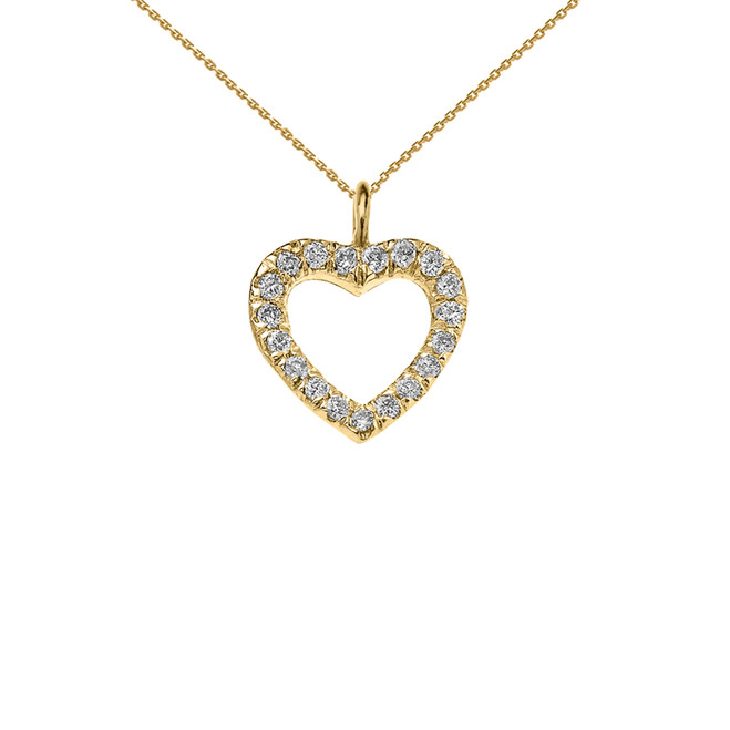 Reversible Diamond and High Polish Plain Open Heart Yellow Gold Charm Dainty Pendant Necklace