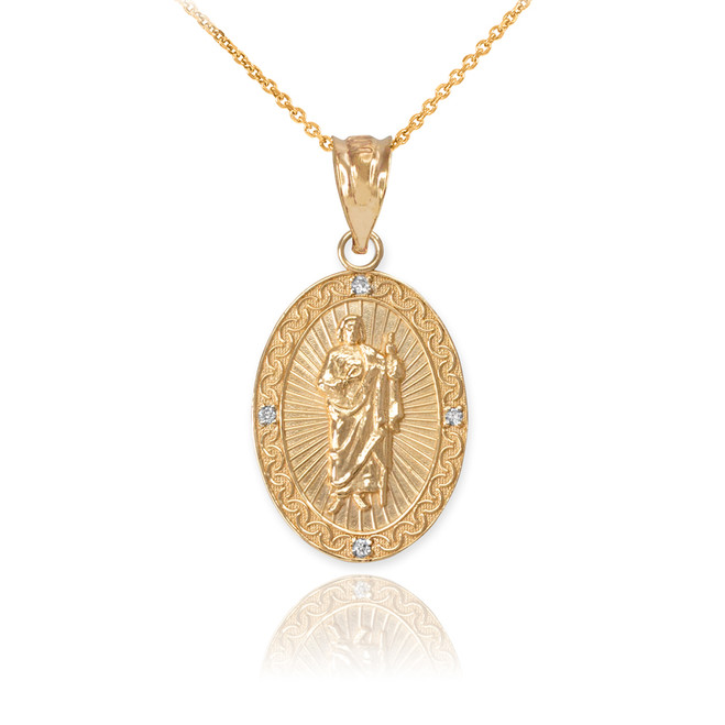 Yellow Gold St Jude Diamond Oval Small Pendant Necklace