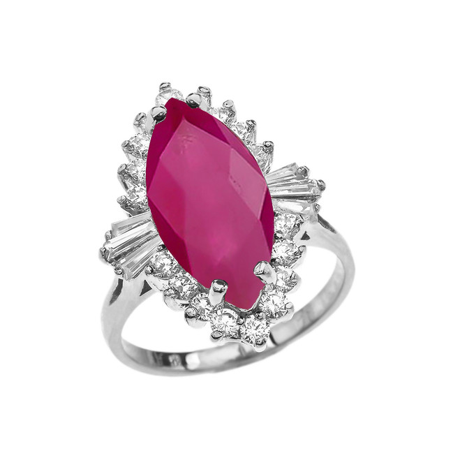 4 Ct (LCR) Ruby July Birthstone Ballerina White Gold Proposal Ring