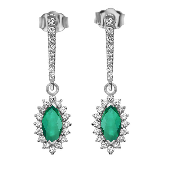 Diamond And May Birthstone LC Emerald White Gold Elegant Earrings