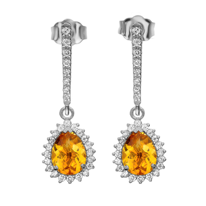 Diamond And Checkerboard Citrine White Gold Elegant Earrings