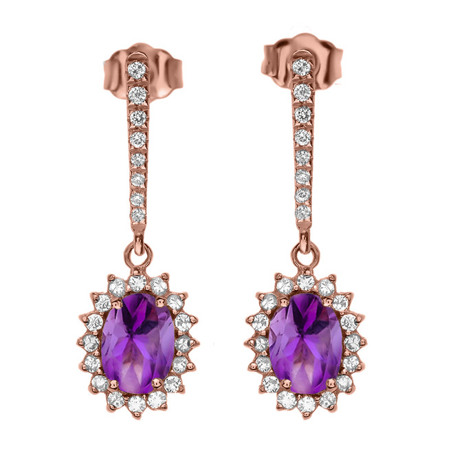 Diamond And Amethyst Rose Gold Elegant Earrings