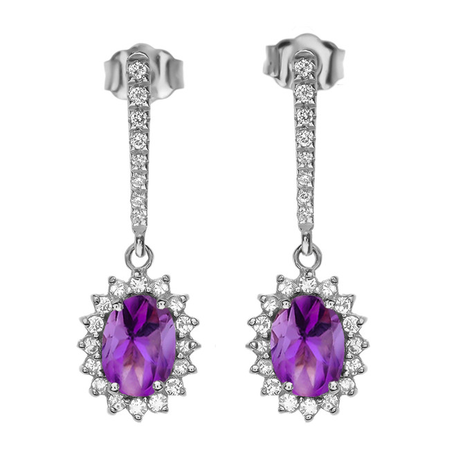 Diamond And Amethyst White Gold Elegant Earrings