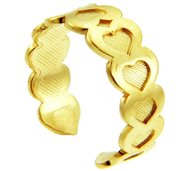 Fancy Heart Yellow Gold Toe Ring