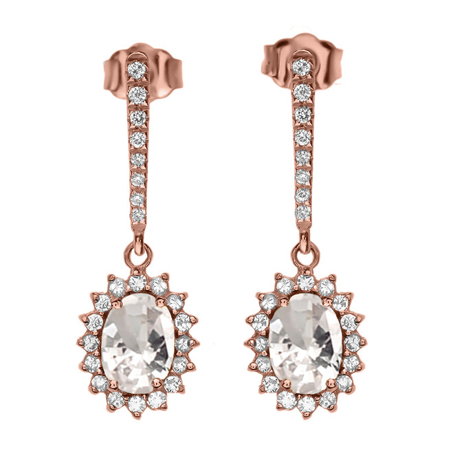 Diamond And April Birthstone CZ Rose Gold Elegant Earrings