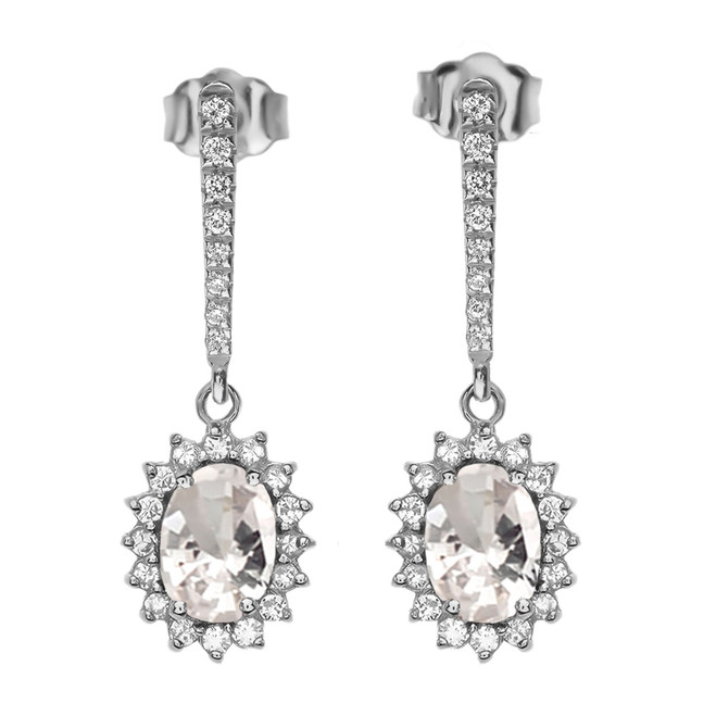 Diamond And April Birthstone CZ White Gold Elegant Earrings