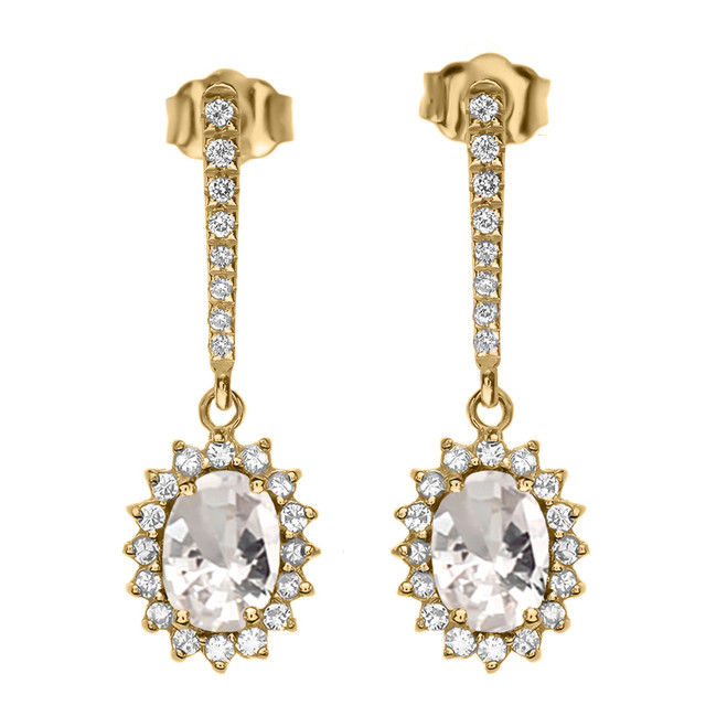 Diamond And April Birthstone CZ Yellow Gold Elegant Earrings