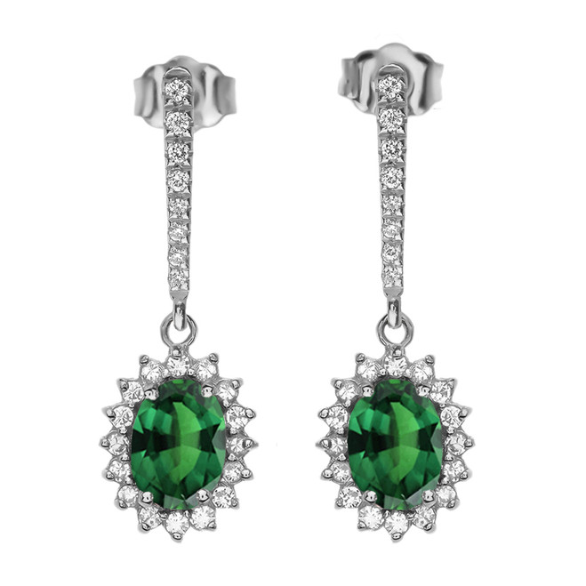 Diamond And May Birthstone (LCE) Emerald White Gold Elegant Earrings