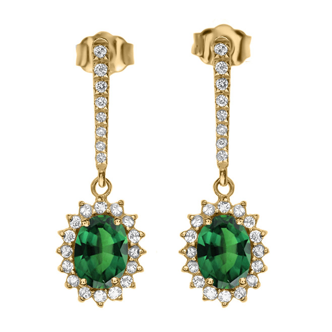 Diamond And May Birthstone (LCE) Emerald Yellow Gold Elegant Earrings