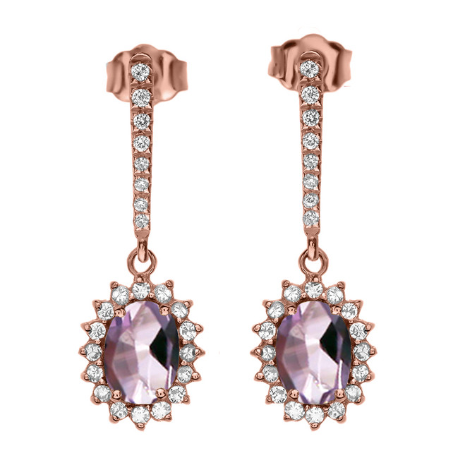 Diamond And June Birthstone CZ Alexandrite Rose Gold Elegant Earrings