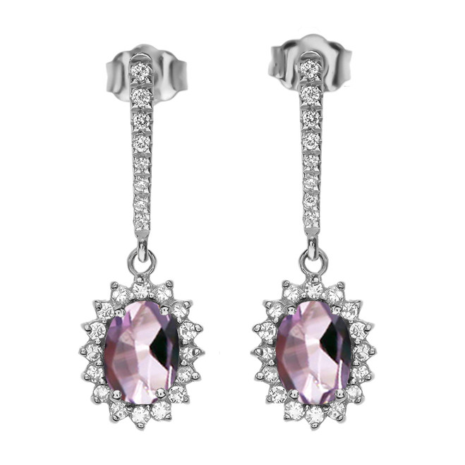 Diamond And June Birthstone CZ Alexandrite White Gold Elegant Earrings