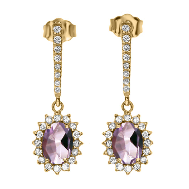 Diamond And June Birthstone CZ Alexandrite Yellow Gold Elegant Earrings