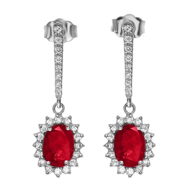 Diamond And July Birthstone Ruby White Gold Elegant Earrings