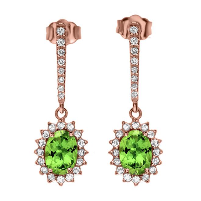 Diamond And Peridot Rose Gold Elegant Earrings