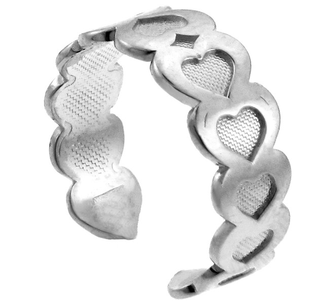 Fancy Heart Silver Toe Ring