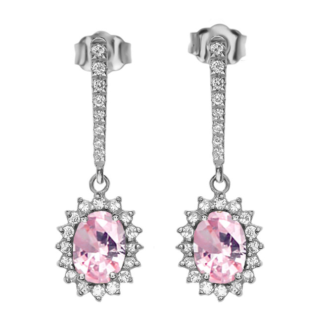 Diamond And October Birthstone Pink CZ White Gold Elegant Earrings