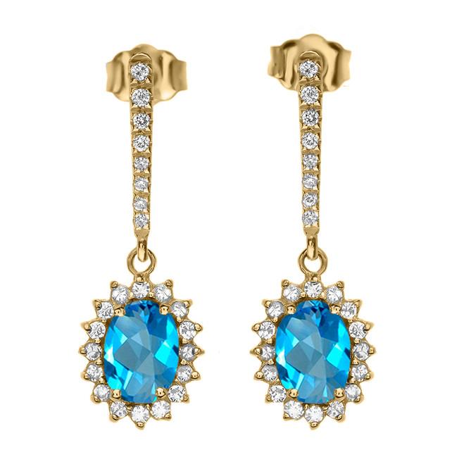 Diamond And Blue Topaz Yellow Gold Elegant Earrings
