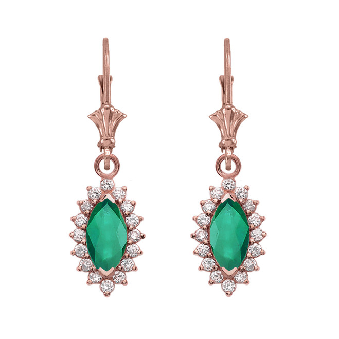 Diamond And Emerald Rose Gold Dangling Earrings