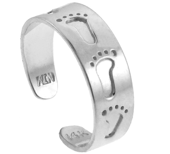 Bold Footprint Silver Toe Ring