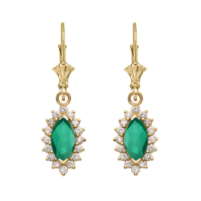 Diamond And Emerald Yellow Gold Dangling Earrings