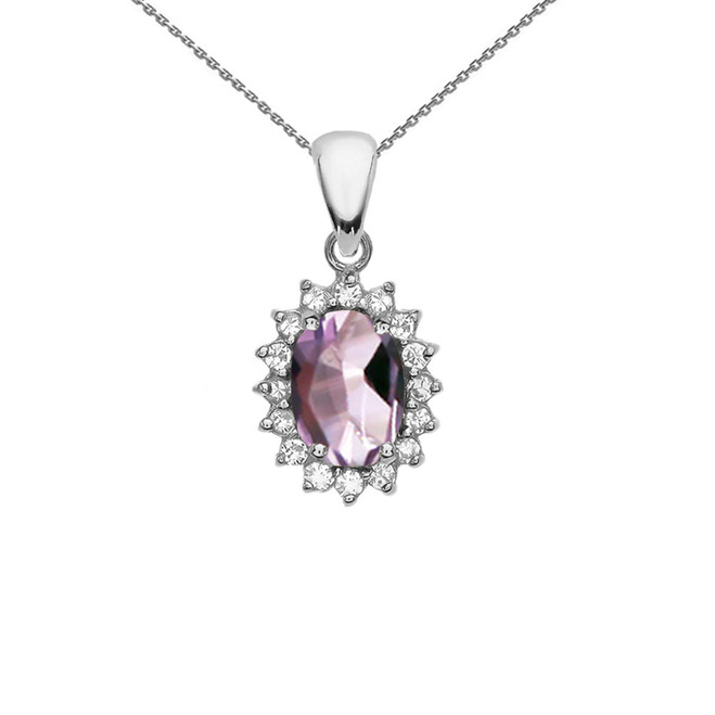 Diamond And June Birthstone CZ Alexandrite White Gold Elegant Pendant Necklace