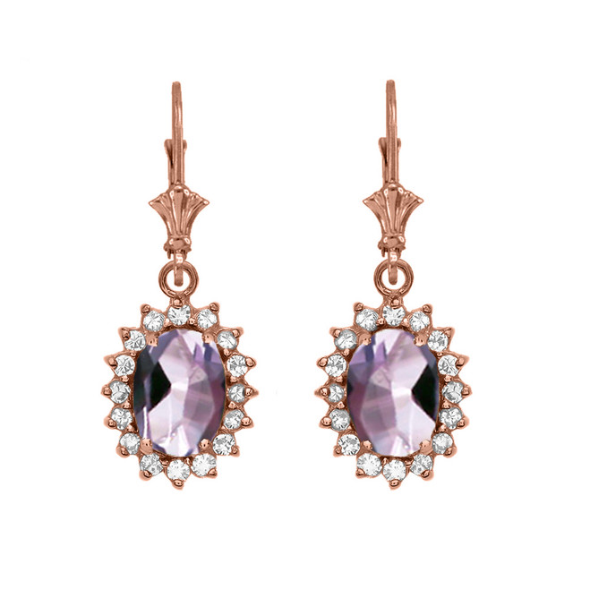 Diamond And June Birthstone CZ Alexandrite Rose Gold Dangling Earrings