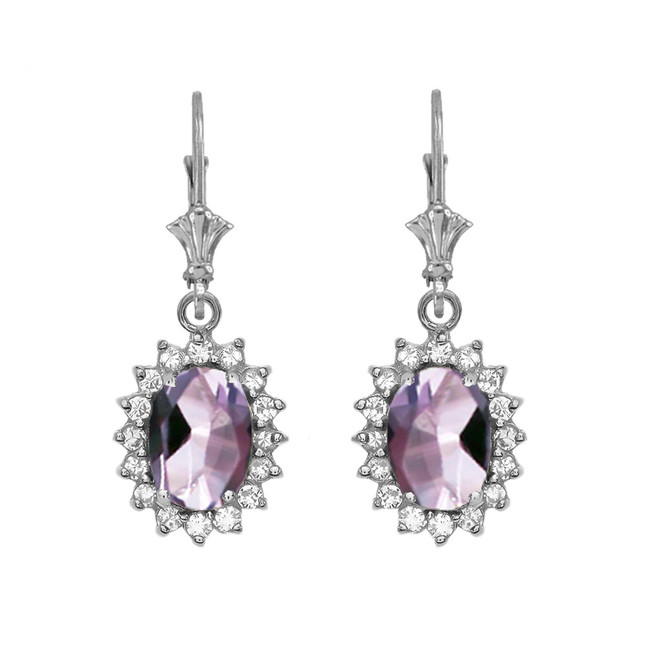 Diamond And June Birthstone CZ Alexandrite White Gold Dangling Earrings