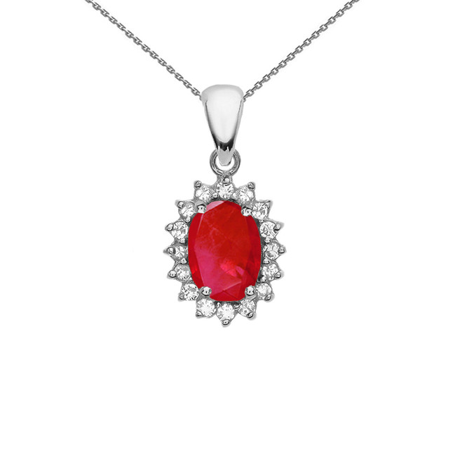 Diamond And July Birthstone Ruby White Gold Elegant Pendant Necklace