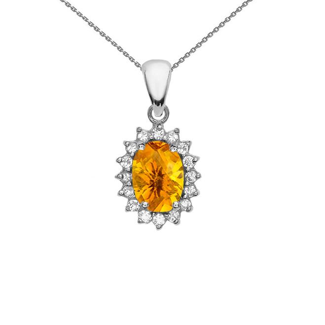 Diamond And Citrine White Gold Elegant Pendant Necklace