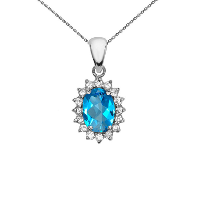Diamond And Blue Topaz White Gold Elegant Pendant Necklace