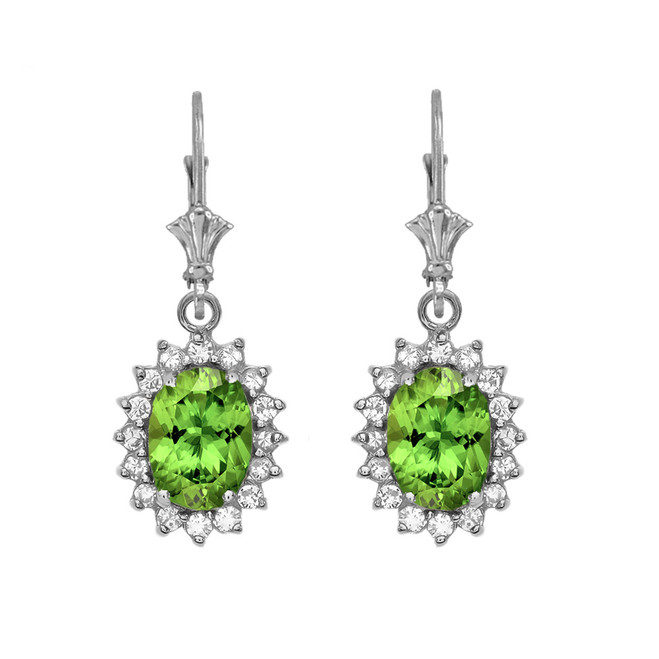 Diamond And Peridot White Gold Dangling Earrings
