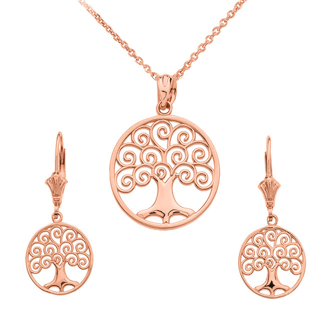 14K Rose Gold Polished Tree of Life Openwork Necklace Earring Set