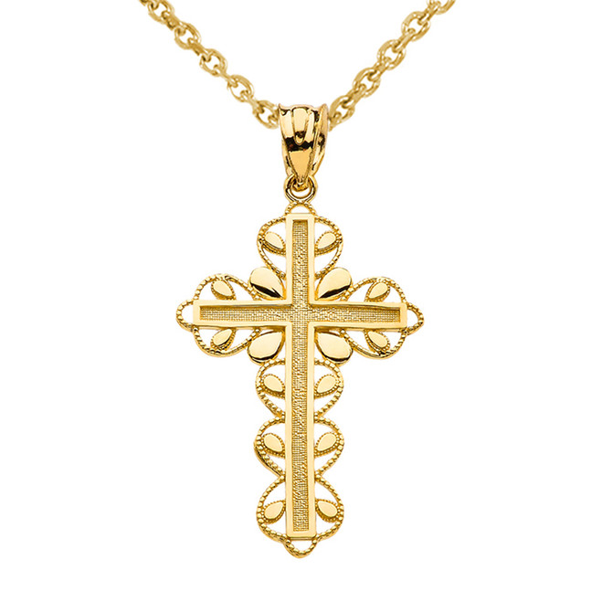 "Yellow Gold Cross ""Faith Hope Love "" Pendant Necklace"