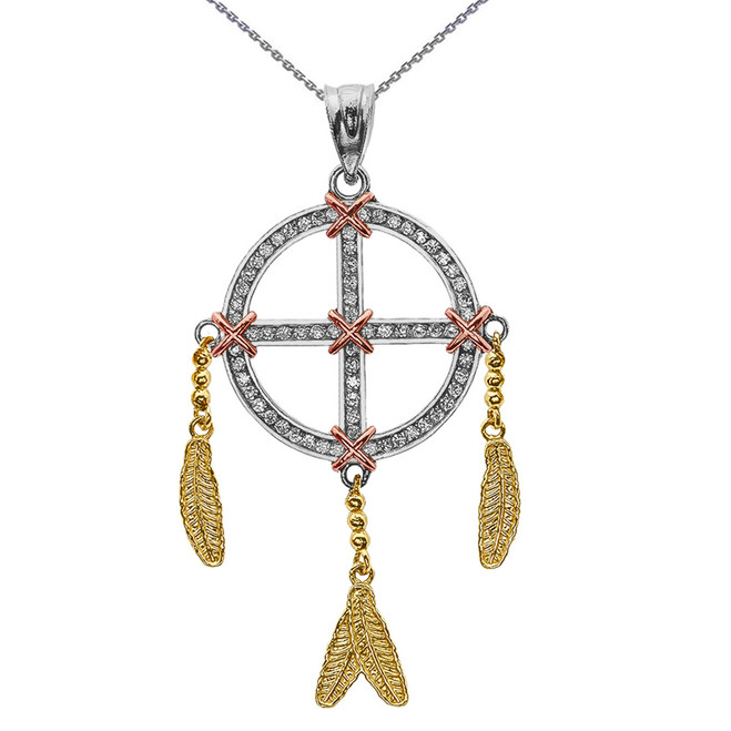 Gold And Cubic Zirconia Dream Catcher Pendant Necklace