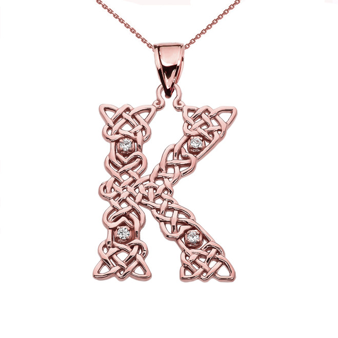 """K"" Initial In Celtic Knot Pattern Rose Gold Pendant Necklace With Diamond"
