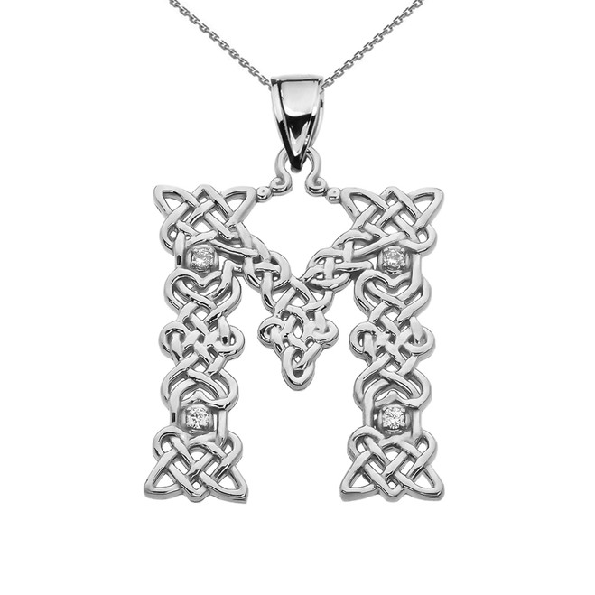 """M"" Initial In Celtic Knot Pattern White Gold Pendant Necklace With Diamond"