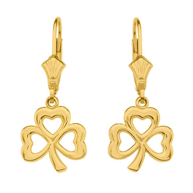 14K Yellow Gold Polished Lucky Shamrock Earrings