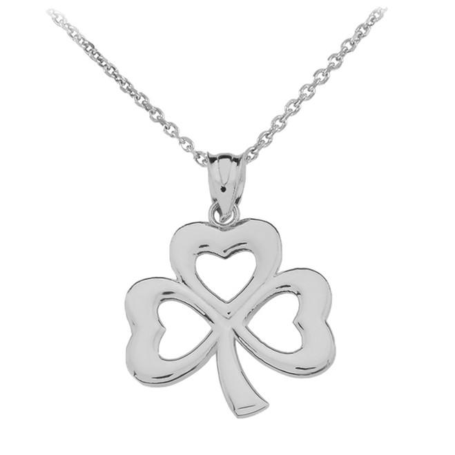 White Gold Polished Lucky Shamrock Pendant Necklace