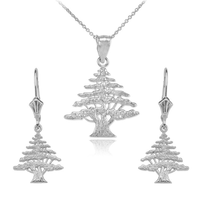 14K  White  Gold Lebanese Cedar Tree  Necklace Earring Set