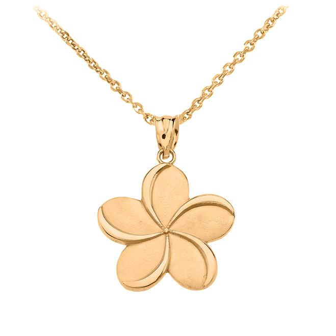 Yellow Gold Hawaiian Plumeria Flower Pendant Necklace