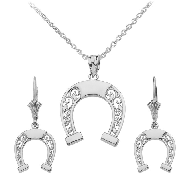 Sterling Silver Filigree Horseshoe Necklace Earring Set