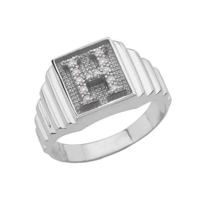Sterling Silver Diamond Initial H Ring