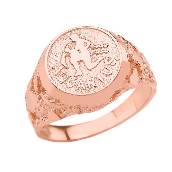Rose Gold Aquarius Zodiac Sign Nugget Ring