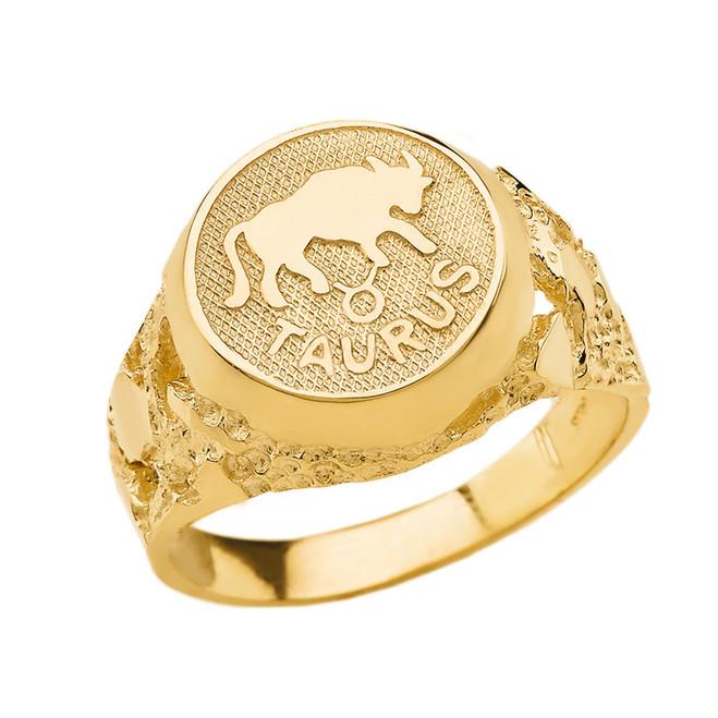 Yellow Gold Taurus Zodiac Sign Nugget Ring