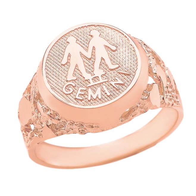 Rose Gold Gemini Zodiac Sign Nugget Ring