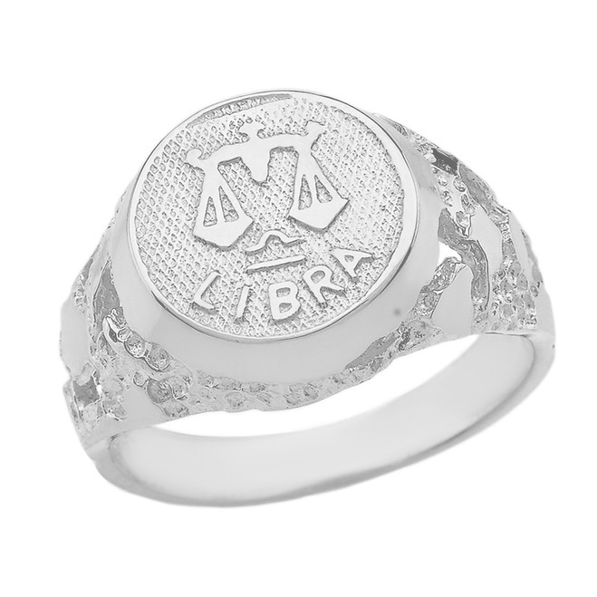 White Gold Libra Zodiac Sign Nugget Ring