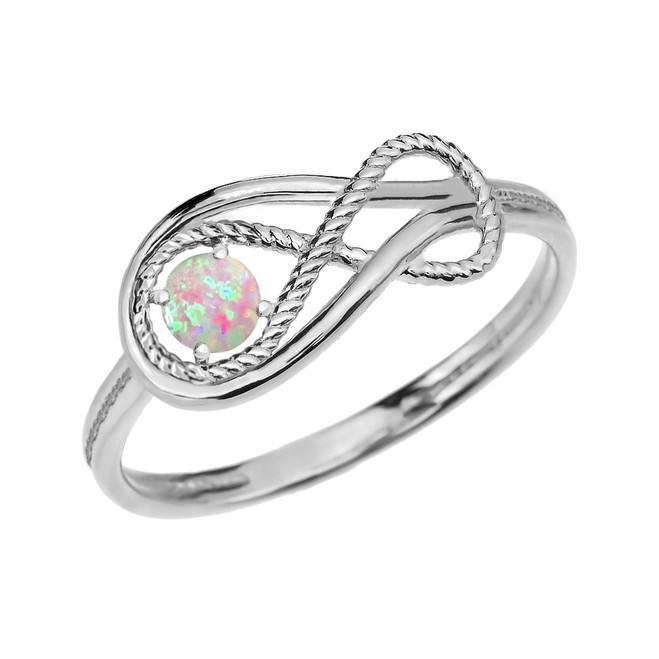 October Birthstone Opal Rope Infinity White Gold Ring